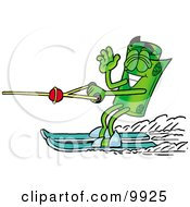 Clipart Picture Of A Rolled Money Mascot Cartoon Character Waving While Water Skiing