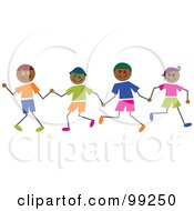 Royalty Free RF Clipart Illustration Of Hispanic Stick Boys Holding Hands