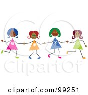 Royalty Free RF Clipart Illustration Of Hispanic Stick Girls Holding Hands