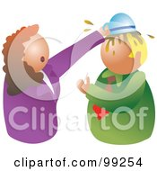 Royalty Free RF Clipart Illustration Of A Stressed Businses Woman Dumping A Bowl Of Food On A Mans Head by Prawny