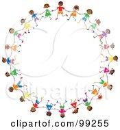 Royalty Free RF Clipart Illustration Of A Circle Of Hispanic Stick Children