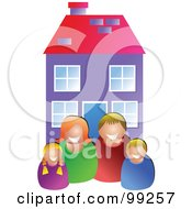 Royalty Free RF Clipart Illustration Of A Happy White Family In Front Of Their Home by Prawny