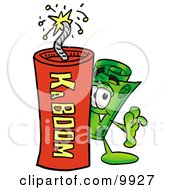 Clipart Picture Of A Rolled Money Mascot Cartoon Character Standing With A Lit Stick Of Dynamite
