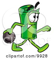 Clipart Picture Of A Rolled Money Mascot Cartoon Character Holding A Bowling Ball