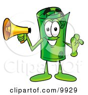 Clipart Picture Of A Rolled Money Mascot Cartoon Character Holding A Megaphone