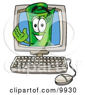 Clipart Picture Of A Rolled Money Mascot Cartoon Character Waving From Inside A Computer Screen
