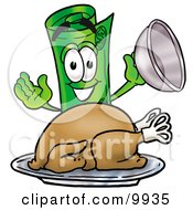 Rolled Money Mascot Cartoon Character Serving A Thanksgiving Turkey On A Platter by Toons4Biz