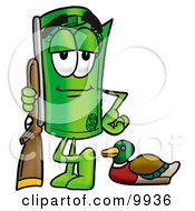 Clipart Picture Of A Rolled Money Mascot Cartoon Character Duck Hunting Standing With A Rifle And Duck by Toons4Biz
