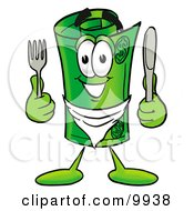 Clipart Picture Of A Rolled Money Mascot Cartoon Character Holding A Knife And Fork