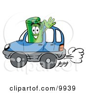 Clipart Picture Of A Rolled Money Mascot Cartoon Character Driving A Blue Car And Waving