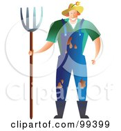 Royalty Free RF Clipart Illustration Of A Messy Male Farmer With Mud On His Overalls