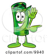 Clipart Picture Of A Rolled Money Mascot Cartoon Character Waving And Pointing