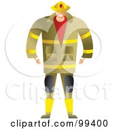 Royalty Free RF Clipart Illustration Of A Male Fire Fighter In A Yellow Uniform