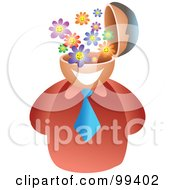 Royalty Free RF Clipart Illustration Of A Businessman With A Flower Brain