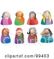 Royalty Free RF Clipart Illustration Of A Digital Collage Of Moody Female Avatars by Prawny