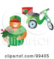 Royalty Free RF Clipart Illustration Of A Friendly Floral Delivery Guy Holding A Bouquet His Scooter In The Background by Prawny