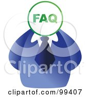 Royalty Free RF Clipart Illustration Of A Businessman With An FAQ Sign Face by Prawny