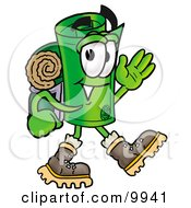 Clipart Picture Of A Rolled Money Mascot Cartoon Character Hiking And Carrying A Backpack