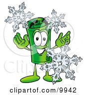 Clipart Picture Of A Rolled Money Mascot Cartoon Character With Three Snowflakes In Winter