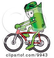 Clipart Picture Of A Rolled Money Mascot Cartoon Character Riding A Bicycle