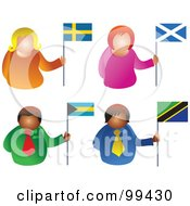 Royalty Free RF Clipart Illustration Of A Digital Collage Of People Holding Flags 3