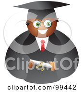 Royalty Free RF Clipart Illustration Of A Male Graduate In A Black Cap And Gown Holding His Diploma