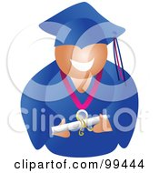 Royalty Free RF Clipart Illustration Of A Male Graduate In A Blue Cap And Gown Holding His Diploma