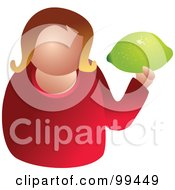 Royalty Free RF Clipart Illustration Of A Woman Holding A Large Lime