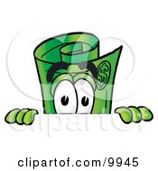 Clipart Picture Of A Rolled Money Mascot Cartoon Character Peeking Over A Surface