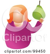 Royalty Free RF Clipart Illustration Of A Woman Holding A Large Pear