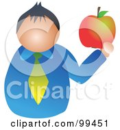 Royalty Free RF Clipart Illustration Of A Man Holding A Large Apple