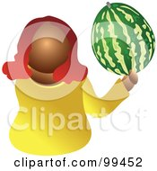 Royalty Free RF Clipart Illustration Of A Woman Holding A Large Watermelon