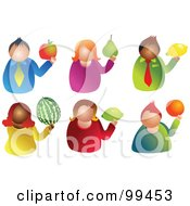 Royalty Free RF Clipart Illustration Of A Digital Collage Of Six Men And Women Holding Fruit by Prawny