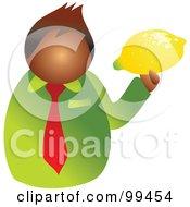 Royalty Free RF Clipart Illustration Of A Man Holding A Large Lemon by Prawny