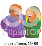 Royalty Free RF Clipart Illustration Of A Happy Couple Embracing And Smiling At Each Other