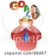 Royalty Free RF Clipart Illustration Of A Businessman With A Goals Brain by Prawny
