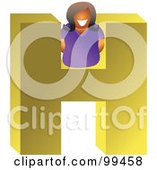 Royalty Free RF Clipart Illustration Of A Woman With A Large Letter H