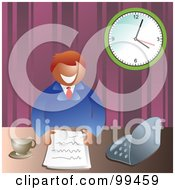 Royalty Free RF Clipart Illustration Of A Business Man With Paperwork At His Desk by Prawny
