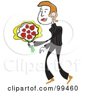 Royalty Free RF Clipart Illustration Of A Man In Black Holding A Bouquet Of Roses by Prawny