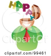Royalty Free RF Clipart Illustration Of A Businessman With A Happy Brain