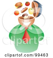 Royalty Free RF Clipart Illustration Of A Businessman With A Food Brain by Prawny