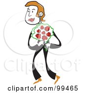 Royalty Free RF Clipart Illustration Of A Man In Black Carrying A Bouquet Of Roses by Prawny