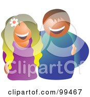Royalty Free RF Clipart Illustration Of A Happy Couple Smiling The Woman With A Flower In Her Hair