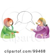 Royalty Free RF Clipart Illustration Of A Two Women Having A Conversation With A Blank Balloon by Prawny