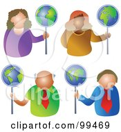 Royalty Free RF Clipart Illustration Of A Digital Collage Of Business Men And Women Holding Globe Signs