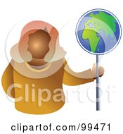 Royalty Free RF Clipart Illustration Of A Business Woman Holding A Globe Sign