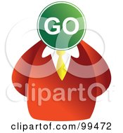 Royalty Free RF Clipart Illustration Of A Businessman With A Go Sign Face