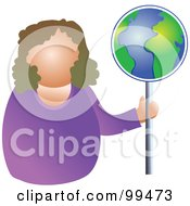 Royalty Free RF Clipart Illustration Of A Businesswoman Holding A Globe Sign