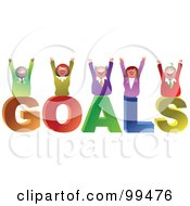 Royalty Free RF Clipart Illustration Of A Business Team Celebrating On GOALS by Prawny