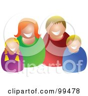 Royalty Free RF Clipart Illustration Of A Happy Caucasian Family Of Four by Prawny